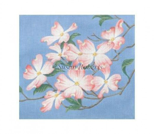 click here to view larger image of Pink Dogwood - 13ct (hand painted canvases)
