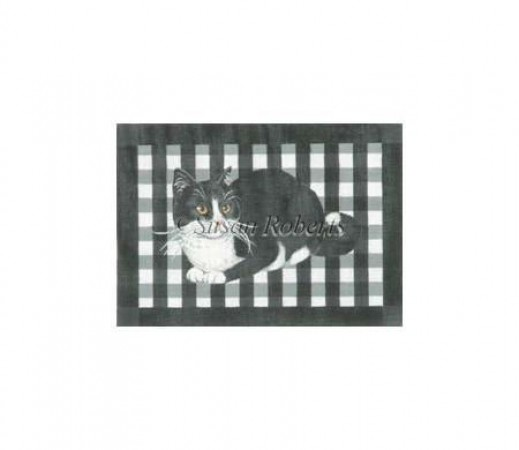 click here to view larger image of Gingham Black and White Cat (hand painted canvases)