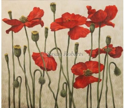 click here to view larger image of Red Poppies - 13ct (hand painted canvases)