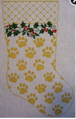 click here to view larger image of My Best Friend's Stocking - Gold (hand painted canvases)