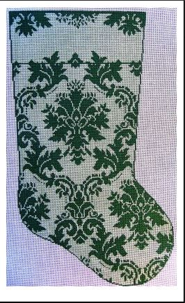 click here to view larger image of Teri's Damask Stocking (hand painted canvases)