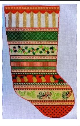 click here to view larger image of Missy's Stocking - Band Sampler - 13ct (hand painted canvases)