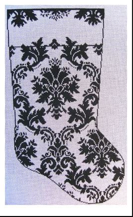click here to view larger image of GG's Damask Stocking (hand painted canvases)