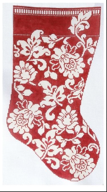 click here to view larger image of Karen's Red Damask Stocking (hand painted canvases)