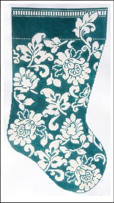 click here to view larger image of Karen's Teal Damask Stocking (hand painted canvases)