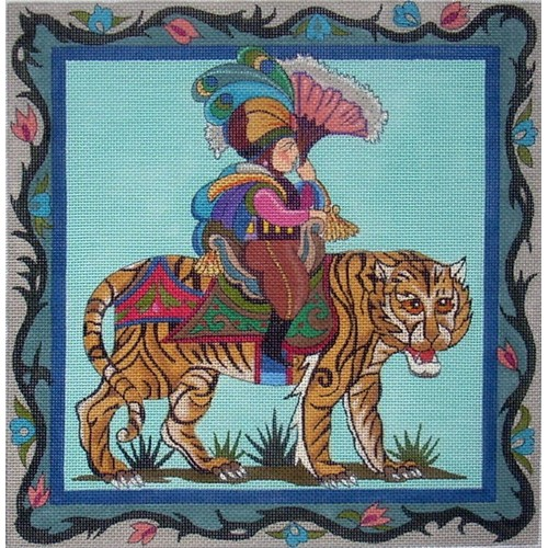 click here to view larger image of Tiger With Rider (hand painted canvases)