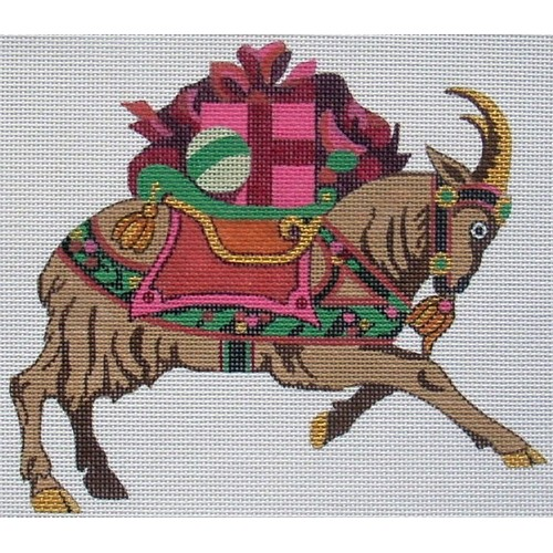click here to view larger image of Christmas Goat (hand painted canvases)