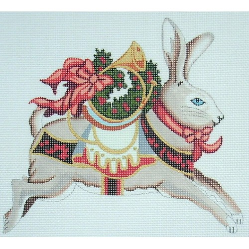 Christmas Rabbit With French Horn hand painted canvases