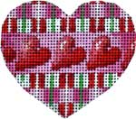 click here to view larger image of Three Hearts/Plaid Heart (hand painted canvases)