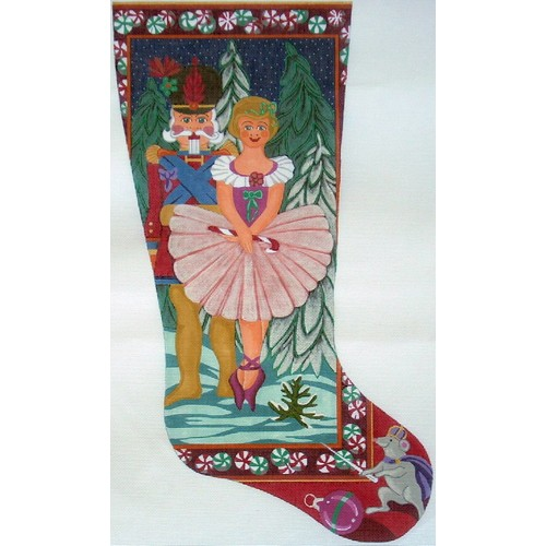 click here to view larger image of Clara and Nutcracker Stocking - 13ct (hand painted canvases)