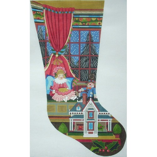 click here to view larger image of Doll and Dollhouse Stocking - 13ct (hand painted canvases)
