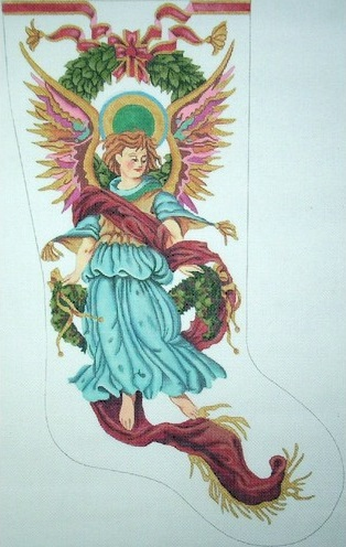 Renaissance Angel Stocking on White - click here for more details