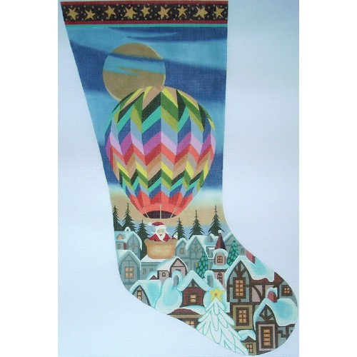 click here to view larger image of Hot Air Balloon Stocking - 18ct (hand painted canvases)
