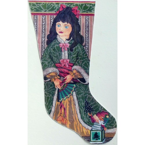 click here to view larger image of Victorian Doll Stocking (hand painted canvases)
