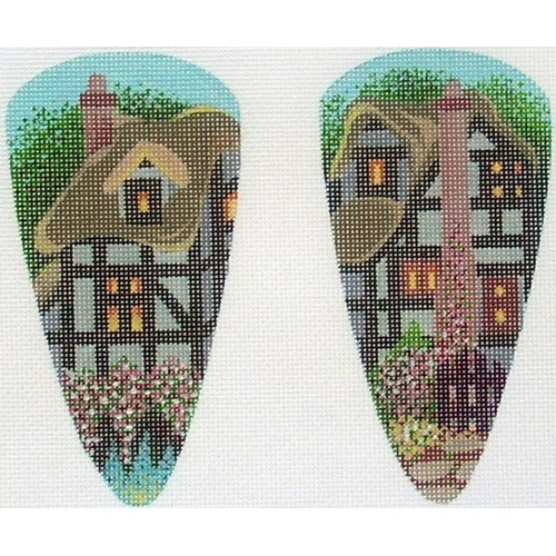 click here to view larger image of Scissor Case - Tudor House (hand painted canvases)