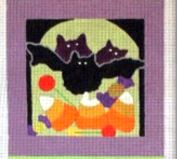 click here to view larger image of Bats and Candy Square (hand painted canvases)