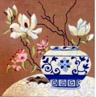 click here to view larger image of Blue and White Porcelain Jar (hand painted canvases)