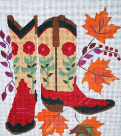 click here to view larger image of Fall Boots (hand painted canvases)