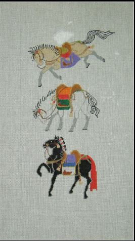 click here to view larger image of Three Hokusai Horses (hand painted canvases)