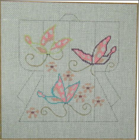 click here to view larger image of Mini Kimono - Butterflies (outline) (hand painted canvases)