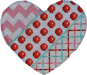 click here to view larger image of Cheveron / Coin Dot / Tattersall Heart (hand painted canvases)