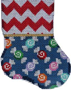 click here to view larger image of Red Chevron / Multi Candies Mini Sock (hand painted canvases)