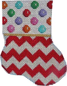 click here to view larger image of Multi Coin Dot / Red Chevron Mini Sock (hand painted canvases)