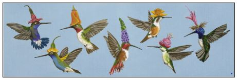 click here to view larger image of Hummers (hand painted canvases)