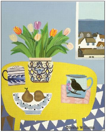 click here to view larger image of Yellow Table, Pears and Tulips (hand painted canvases)