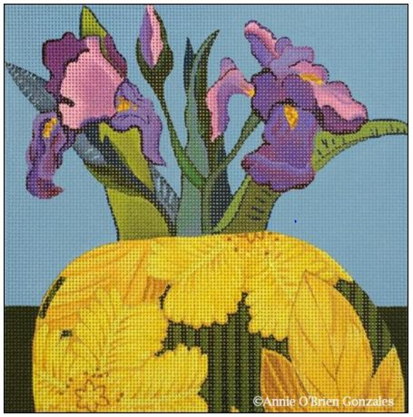 click here to view larger image of Iris Vase (hand painted canvases)