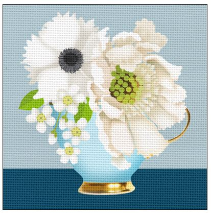 click here to view larger image of Blue and White Teacup Bouquet (hand painted canvases)