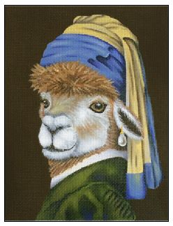 click here to view larger image of Alpaca with a Pearl Earring (hand painted canvases)