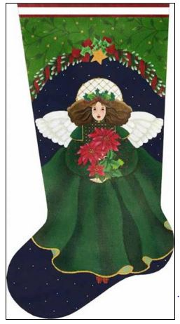 click here to view larger image of Poinsettia Angel Sock (hand painted canvases)