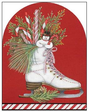 click here to view larger image of White Ice Skate (hand painted canvases)