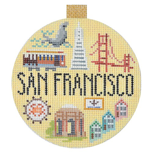 Travel Round - San Francisco hand painted canvases