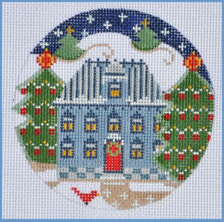 click here to view larger image of Blue House Ornament (hand painted canvases)