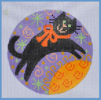 click here to view larger image of Black Cat Round (hand painted canvases)
