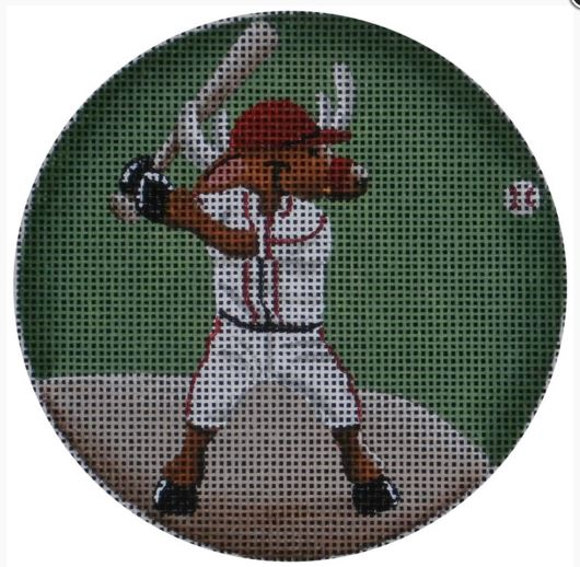 click here to view larger image of Baseball Reindeer Ornament (hand painted canvases)