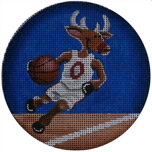 click here to view larger image of Basketball Reindeer Ornament (hand painted canvases)