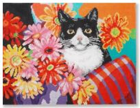 click here to view larger image of Cat w/Flowers (hand painted canvases)