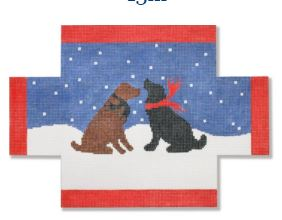 click here to view larger image of Evening Snow Dog (hand painted canvases)