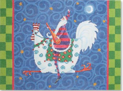 click here to view larger image of Santa Riding Rooster (hand painted canvases)