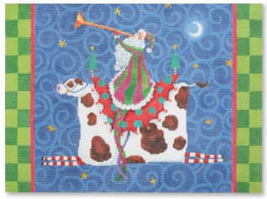 click here to view larger image of Santa Riding Cow (hand painted canvases)