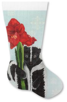 click here to view larger image of Skunk with Amaryllis Stocking (hand painted canvases)
