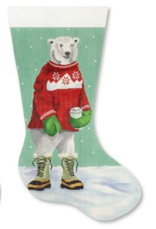 click here to view larger image of Polar Bear with Red Sweater Stocking (hand painted canvases)