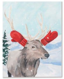 click here to view larger image of Elk w/Red Mittens (hand painted canvases)