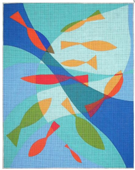 click here to view larger image of Fishy Pool - 18ct (hand painted canvases)