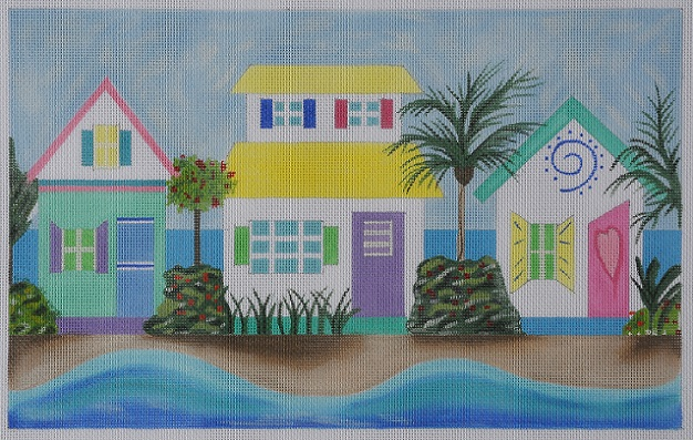 click here to view larger image of Caribbean Row Houses (hand painted canvases)