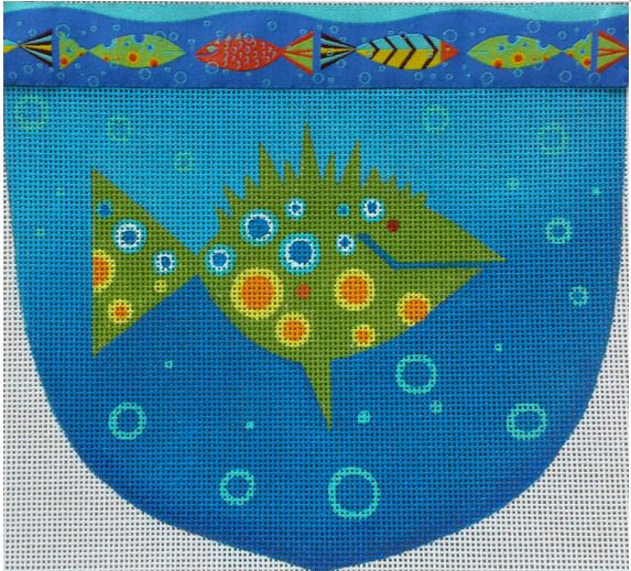 click here to view larger image of Fish Pouch (hand painted canvases)