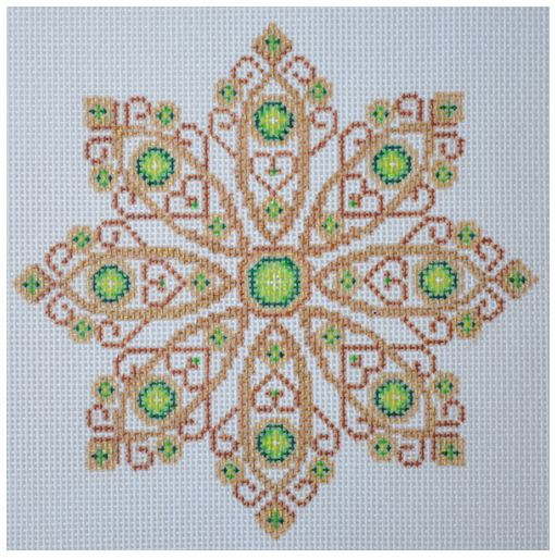 click here to view larger image of Gold and Green Jeweled Snowflake (hand painted canvases)